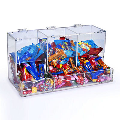 Acrylic countertop display for chocolates